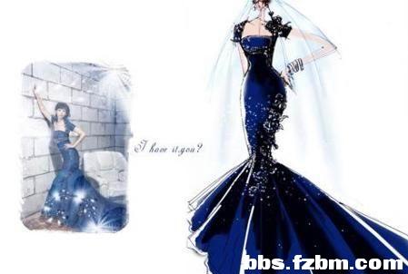 黑白手绘婚纱设计图 创意婚纱手绘设计图 简单古装手绘设